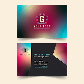 Business card template colorful gradient