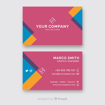 Business card template in colorful style