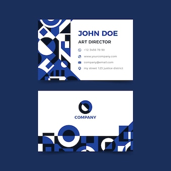 Business card template concept with blue