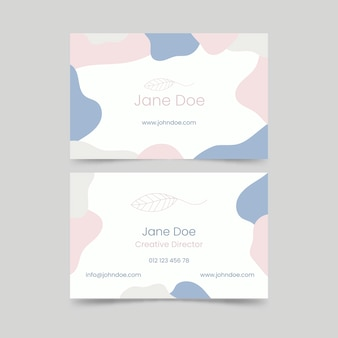 Business card template concept with pastel-colored stains