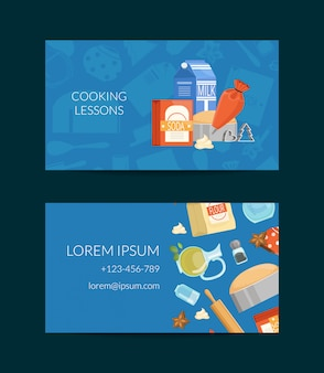 Business card template for cooking lessons or grocery store