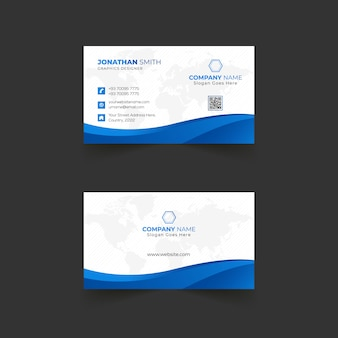 Business card template design for company with abstract shapes