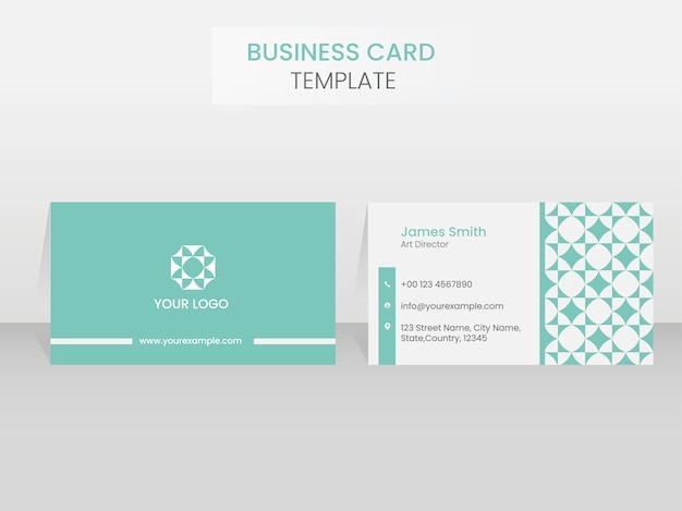Business card template design in front and back view on white ba