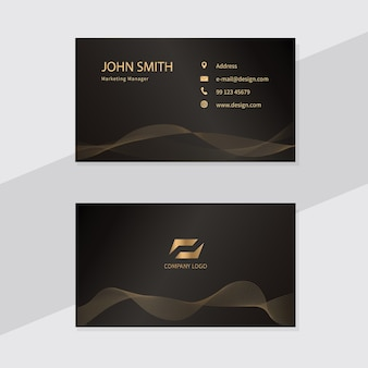 Business card template design. golden lines.