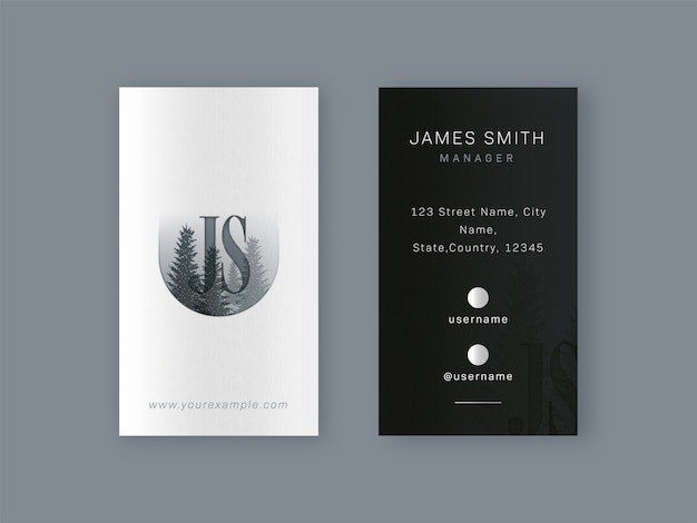 Дизайн шаблона визитной карточки в черно-белом цвете.