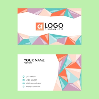 Business card template design low poly