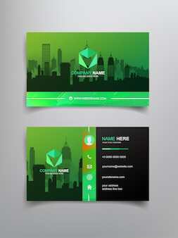 Business card template design with abstract frame and city scape