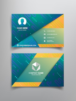 Business card template design with abstract frame