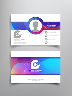Business card template design with abstract framing