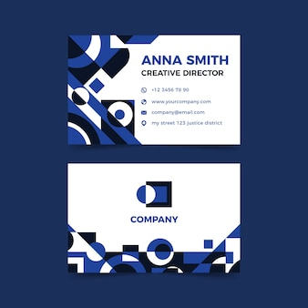 Business card template design with blue