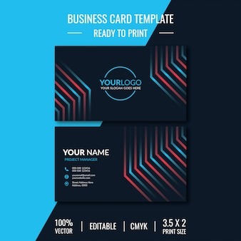 Business card - template design with double sided in red and blue color