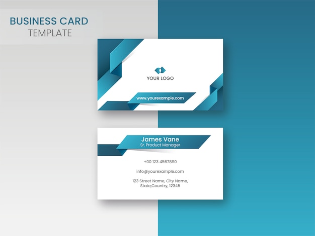 Business card template design with double-sides in blue and whit