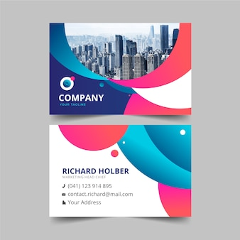 Business card template design with photo