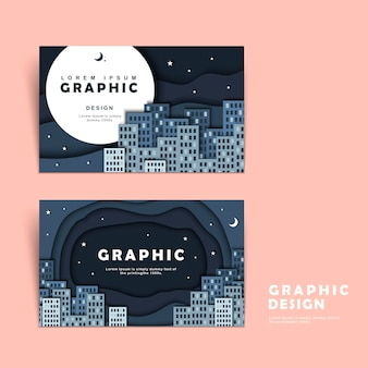 Business card template design with silent but attractive city scene