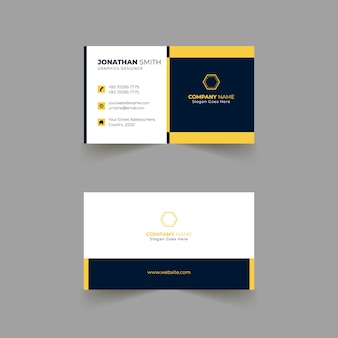 Business card template design with yellow colors