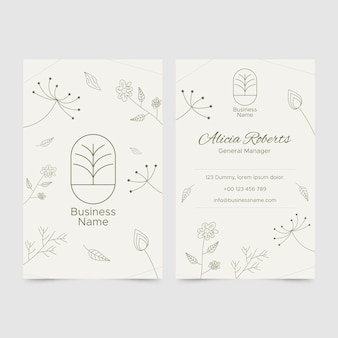 Business card template in floral style