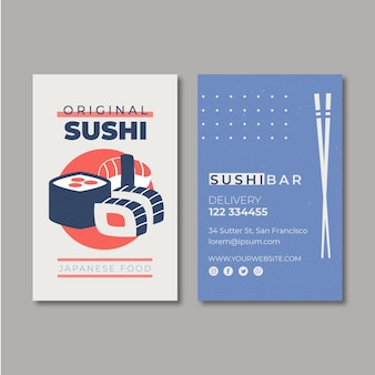 Шаблон визитки для суши ресторана