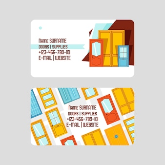 Business card template. front doors for houses and buildings