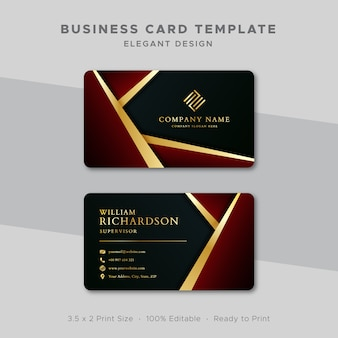 Business card template gold and red design