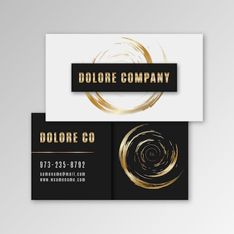 Business card template golden brush strokes