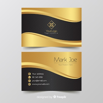 Business card template golden details