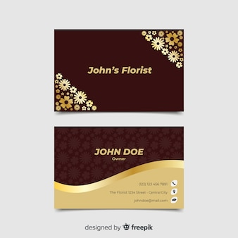 Business card template golden floral