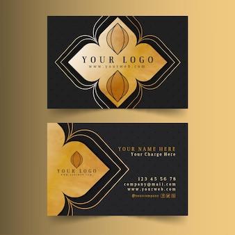Business card template golden flower