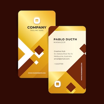 Business card template golden foil