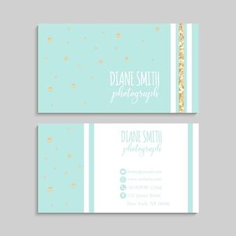 Business card template, golden