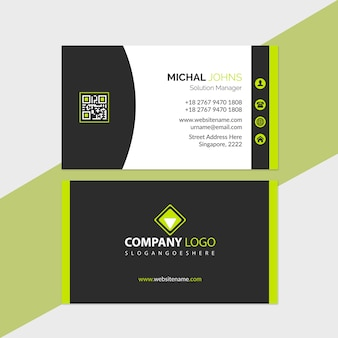 Business card template green and black