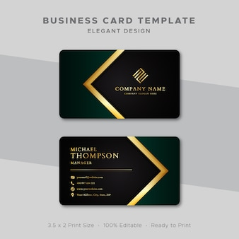 Business card template green and gold design