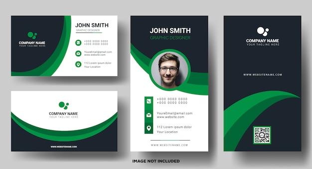 Шаблон визитной карточки горизонтальный и вертикальный Premium векторы