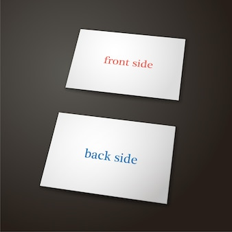 Шаблон визитной карточки в белый цвет на черном фоне две стороны векторные иллюстрации