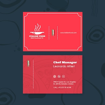 Business card template for italian food restaurant