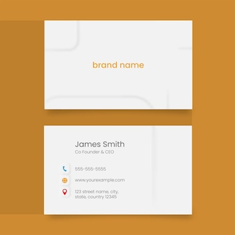 Business card template layout in front and back side on yellow background.
