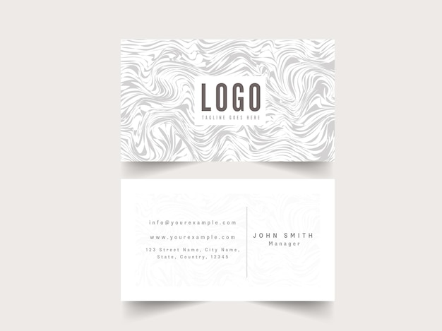 Business card template layout with abstract marble texture in white color.