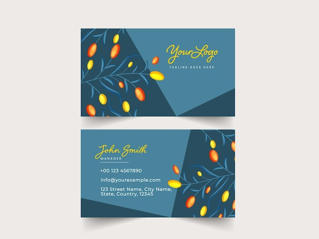 Business card template layout with double-sides in teal blue color.