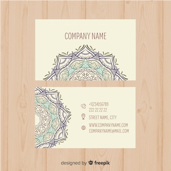 Business card template in mandala style