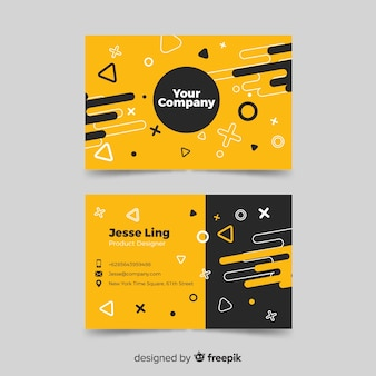 Business card template memphis design