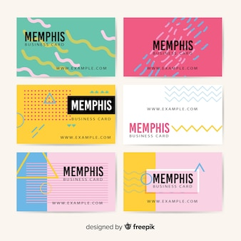 Business card template memphis style