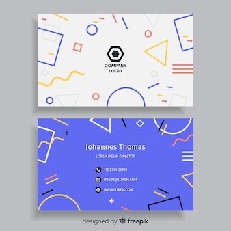 Business card template in memphis style