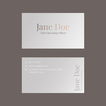 Business card template in muted brown for beauty brand in feminine theme