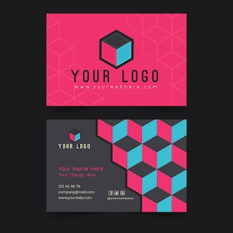 Business card template neumorph style