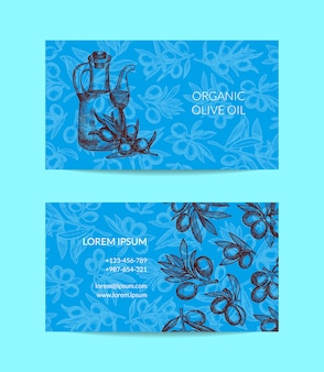 Business card template for oil company with hand drawn olive branches and oil bottle elements