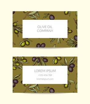 Business card template for oil company with hand drawn olive branches