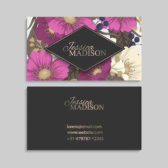 Business card template pink hand drawn flowers