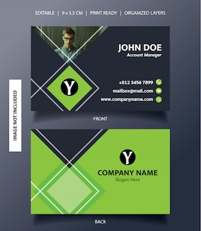 Business card template rectangle ornament
