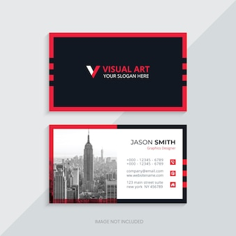 Business card template in red and black with image place