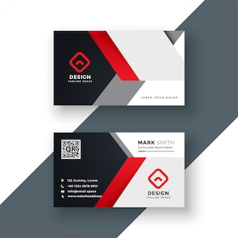 Business card template in red color