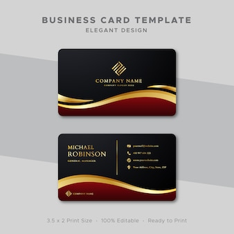 Business card template red and gold wave design